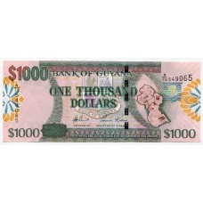 Банкнота 1000 долларов 2009 года Гайана. Из банковской пачки
