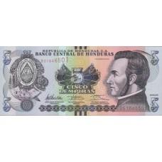"""Банкнота 5 лемпир  2012 год. Гондурас """"битва при Тринидаде"""" UNC"""