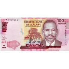 Банкнота 100 квача 2016 год. Малави (UNC)