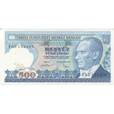 Банкнота 500 лир 1983 года. Турция (UNC)