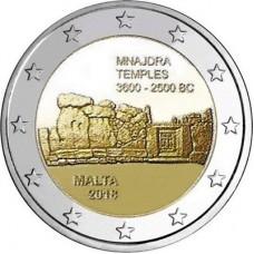 Изображение мальтийских доисторических комплексов - Мнайдра. 2 евро 2018 года.  Мальта (UNC)