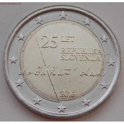 25 лет независимости Республики Словения. 2 евро. 2016 год. Словения