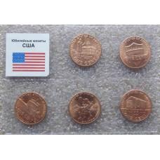 """Юбилейный набор монет США серия """"Юность Линкольна"""" (5 монет)"""