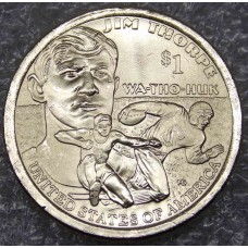 Джим Торп. Сакагавея (Коренные американцы).  1 Доллар  2018 года.  (Двор D)