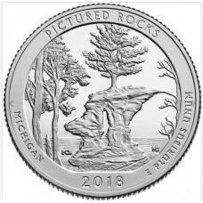 Национальные озёрные побережья живописных камней. 25 центов 2018 года США. №41. (монетный двор Филадельфия) (UNC)