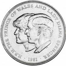Свадьба принца Уэльского и леди Дианы Спенсер. 1 крона (25 пенсов)  1981 год. Великобритания (из обращения)