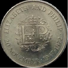 25 лет со дня свадьбы Елизаветы и Филиппа. 1 крона (25 пенсов)  1972 год. Великобритания (из обращения)