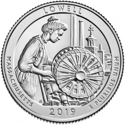 Национальный исторический парк Лоуэлл. 25 центов 2019 года США. №46. (монетный двор Филадельфия) (UNC)