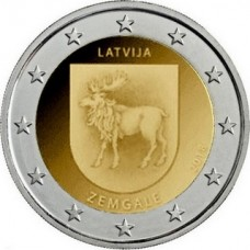 Историческая область Земгале. 2 евро 2018 года.  Латвия (UNC)