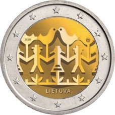 Праздник песни. 2 евро 2018 года.  Литва (UNC)