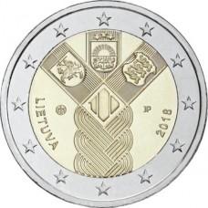 100-летие независимости прибалтийских государств. 2 евро 2018 года.  Литва (UNC)