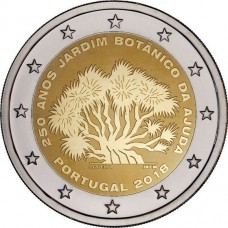 250-летие Ботанического сада Ажуда в Лиссабоне. 2 евро 2018 года.  Португалия (UNC)