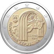 25 лет Словацкой Республики. 2 евро 2018 года.  Словакия (UNC)