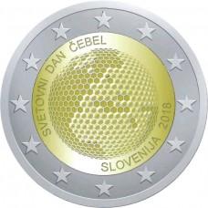 Всемирный день пчелы. 2 евро 2018 года.  Словения (UNC)