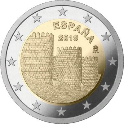 Старый город Авила. Монета 2 евро 2019 года. Биметалл. Испания (UNC)