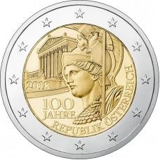 100 лет Австрийской Республике. 2 евро 2017 года.  Австрия (UNC)