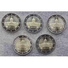 13-я монета серии «Федеральные земли Германии»: Берлин. 2 евро 2018 года. Германия. 5 монет  (UNC)