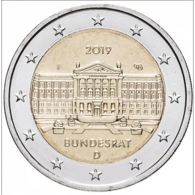 Бундесрат. Монета 2 евро 2019 года. Германия. Биметалл (UNC)