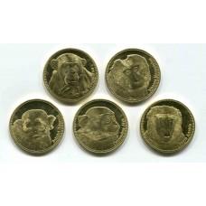 Обезьяны. Набор 5 монет. 5 шиллингов  2017 года.  Сомалиленд (UNC)