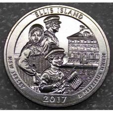Национальный монумент острова Эллис. 25 центов 2017 года США. №39  (UNC)