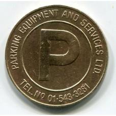 Парковочный жетон. Parking equipment and services ltd. Tel. №01-543-3281 (Из обращения)