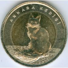 Ангорская кошка. 1 лира 2015 года. Турция (UNC)
