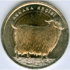 Ангорская коза. 1 лира 2015 года. Турция (UNC)