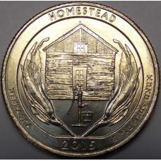Национальный монумент Гомстед. 25 центов 2015 года США. №26 (монетный двор Филадельфия)