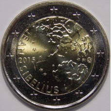 150 лет со дня рождения Яна Сибелиуса. 2 евро 2015 года. Финляндия