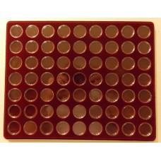 Планшет с капсулами для монет 10 рублей  (гальваника).  63 ячейки