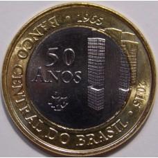 50 лет Центральному Банку. 1 Реал 2015 год. Бразилия.