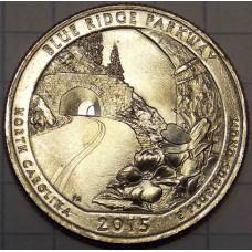 Автомагистраль Блу-Ридж. 25 центов 2015 год. Монетный двор Денвер (D) - №28