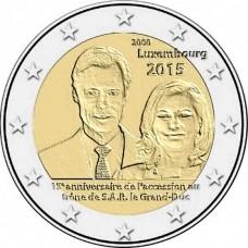 15-летие вступления на престол Великого Герцога Анри. 2 евро 2015 года,  Люксембург.