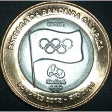 Эстафета передачи олимпийского флага, Рио 2016. 1 Реал 2012 год.  Бразилия
