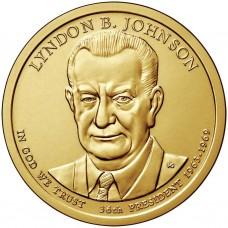 Линдон Джонсон. 1 доллар 2015 года,  36-й президент США (D)