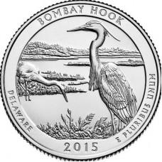 Национальное убежище дикой природы Бомбай-Хук. 25 центов 2015 года США.  №29 (D)