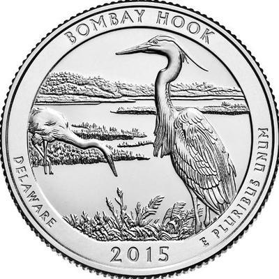 Национальное убежище дикой природы Бомбай-Хук. 25 центов 2015 года США.  №29 (P)