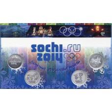 7  памятных монет и банкнота 100 рублей в альбоме. Олимпиада 2014 года.