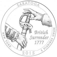 Национальный исторический парк Саратога. 25 центов 2015 года США.  №30 (D)