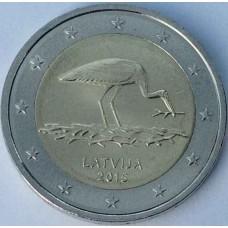 Аист. 2 евро 2015 года. Латвия