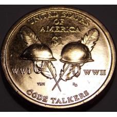 Индейцы Навахо - радисты и шифровальщики. Сакагавея (Коренные американцы).  1 Доллар  2016 года. (UNC)