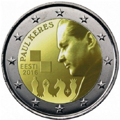 100 лет со дня рождения Пауля Кереса. 2 евро 2016 года. Эстония