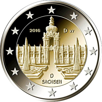 Саксония «Дворец Цвингер в Дрездене». 2 евро 2016 года. Германия