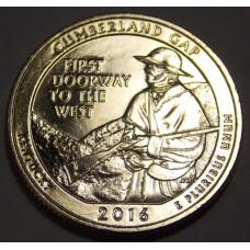 Камберленд-Гэп. 25 центов 2016 года США.  №32  (монетный двор Сан-Франциско)