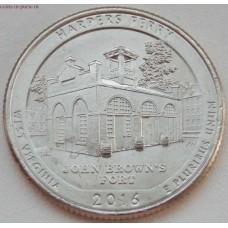 Национальный парк Харперс Ферри. 25 центов 2016 года США.  №33  (монетный двор Сан-Франциско)