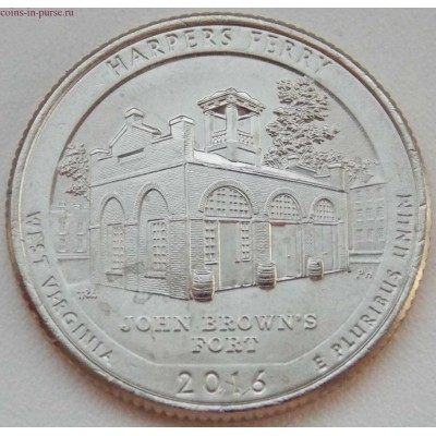 Национальный парк Харперс Ферри. 25 центов 2016 года США.  №33  (монетный двор Денвер)