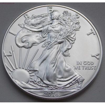 1 доллар США «Шагающая свобода» 1 унция серебра 2016года. США