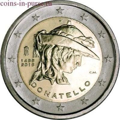 550 лет со дня смерти Донателло. 2 евро 2016 года. Италия