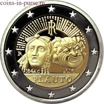 2200-летие со дня смерти Плавта. 2 евро 2016 года. Италия