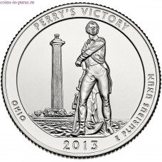 Международный мемориал мира. 25 центов 2013 года США.  №17 (монетный двор Сан-Франциско)